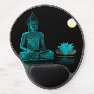 Teal Colour Buddha Meditating at Night Mousepad Gel Mouse Pad