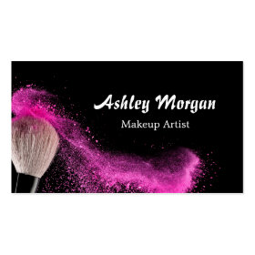 Makeup Artist Brush Powder Fashionable Black White Business Card