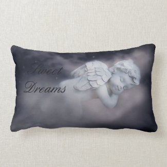 Sweet Sleeping Cherub On Clouds Lumbar Pillow