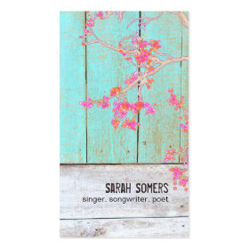 Vintage Country Nature Rustic Turquoise Wood No. 2 Business Card