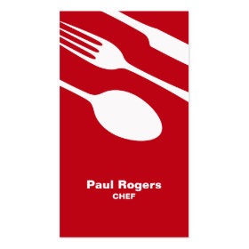 Red chef or catering cutlery business card