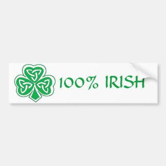 100% IRISH CELTIC CLOVER BUMPER STICKER