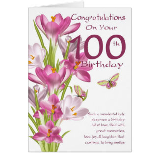 100th Birthday Pink Crocus And Butterfly Greeting Card