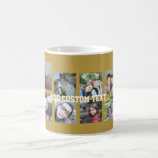12 Photo Collage with Gold Background Classic White Coffee Mug