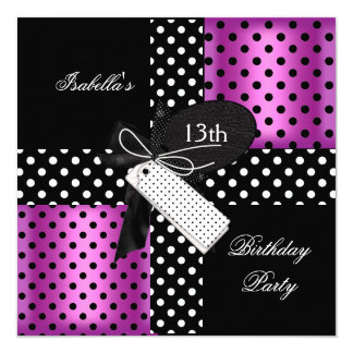 """13th Birthday Party teenager girls 5.25"""" Square Invitation Card"""