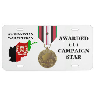 1 CAMPAIGN STAR AFGHANISTAN WAR VETERAN LICENSE PLATE