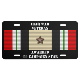 1 CAMPAIGN STAR IRAQ WAR VETERAN LICENSE PLATE