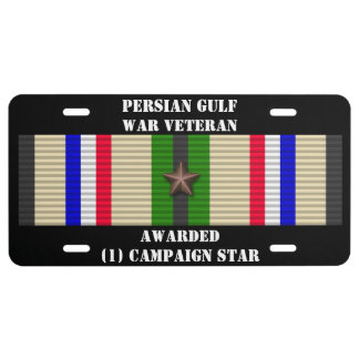 1 CAMPAIGN STAR PERSIAN GULF WAR VETERAN LICENSE PLATE