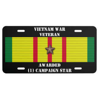 1 CAMPAIGN STAR VIETNAM WAR VETERAN LICENSE PLATE