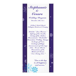 25 4x9 Wedding Program White Snow Flakes Full Color Rack Card