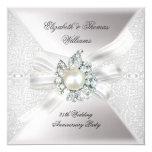 "25th Wedding Anniversary Party Lace Pearl White 5.25"" Square Invitation Card"