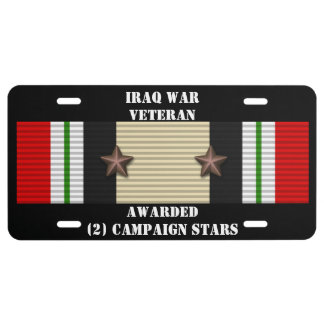 2 CAMPAIGN STARS IRAQ WAR VETERAN LICENSE PLATE