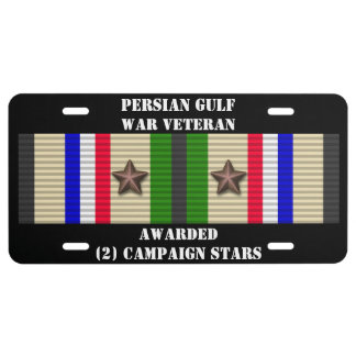 2 CAMPAIGN STARS PERSIAN GULF WAR VETERAN LICENSE PLATE