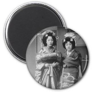 2 Geisha Girls Vintage Japanese Photo 2 Inch Round Magnet