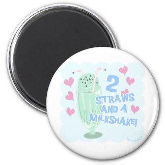 2 Straws and a Milkshake 2 Inch Round Magnet