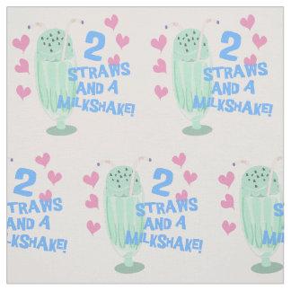 2 Straws and A Milkshake Fabric