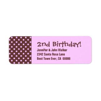 2nd Birthday Cute Polka Dot Pattern Return Address Label