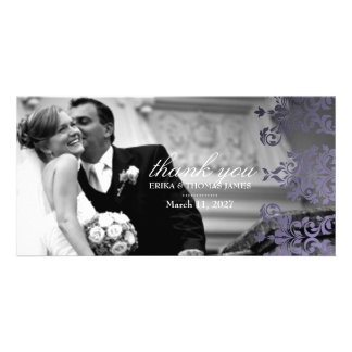 311 Dashing Damask Hydrangea Purple Thank You Photo Card Template