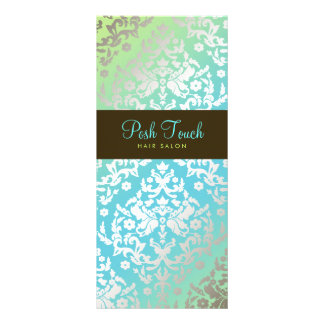 311 Dazzling Damask Turquoise & Lime Personalized Rack Card