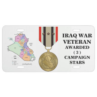 3 CAMPAIGN STARS IRAQ WAR VETERAN LICENSE PLATE