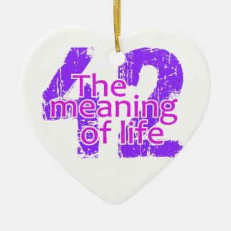 42 Meaning of Life ornament, customizable Ceramic Heart Ornament
