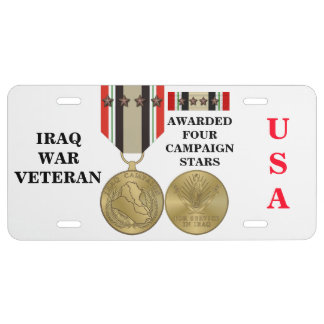 4 CAMPAIGN STARS IRAQ WAR VETERAN LICENSE PLATE