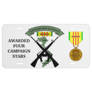 4 CAMPAIGN STARS VIETNAM WAR VETERAN LICENSE PLATE