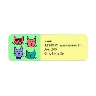 4 Colorful Funny Cute Cartoon Cat Faces Return Address Label