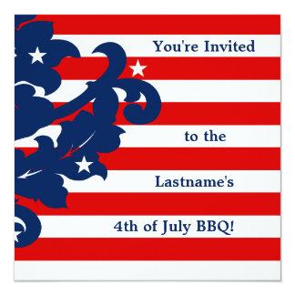 4 juillet damassé élégante de partie carton d'invitation  13,33 cm