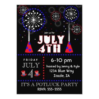 4 juillet invitations de partie de feux d'artifice