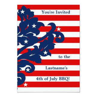4 juillet partie élégante de damassé carton d'invitation  12,7 cm x 17,78 cm