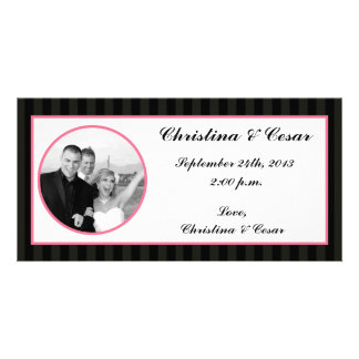 4x8 Engagement Photo Announcement Damask/Stripes Personalized Photo Card