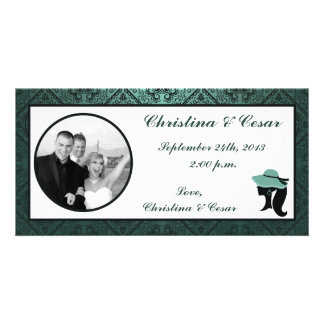 4x8 Engagement Photo Announcement Damask Teal Coup Photo Cards