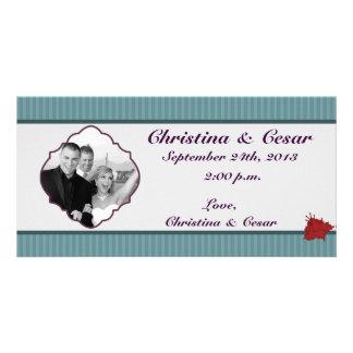 4x8 Engagement Photo Announcement Teal Blue Damask Custom Photo Card