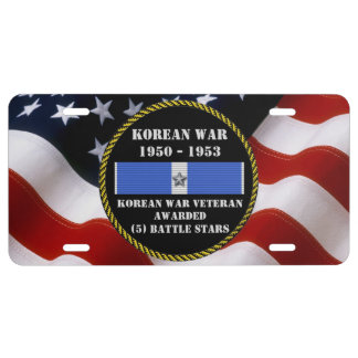 5 BATTLE STARS KOREAN WAR VETERAN LICENSE PLATE