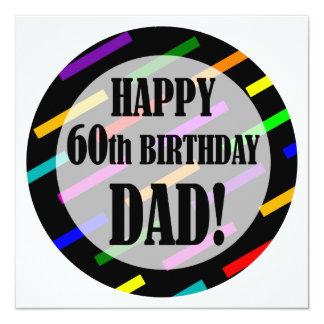 "60th Birthday For Dad 5.25"" Square Invitation Card"
