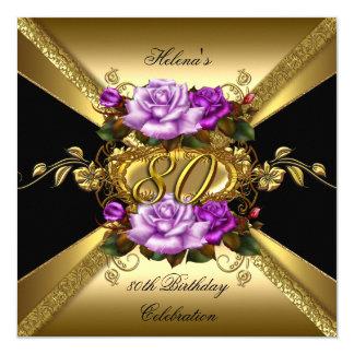 "80th Birthday Party Purple Gold Roses Black 5.25"" Square Invitation Card"