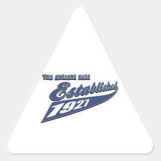 86th birthday designs triangle sticker