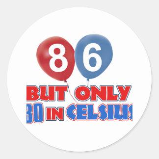 86th year birthday designs round sticker