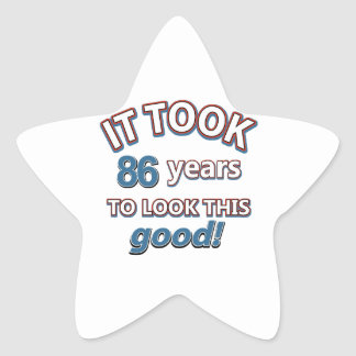 86th year birthday designs star sticker