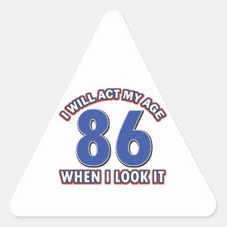 86th year birthday designs triangle sticker