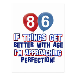 86th year old birthday designs postcard