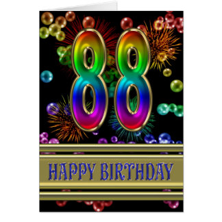 88th Birthday with rainbow bubbles and fireworks Greeting Card