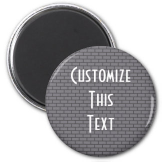 8-Bit Retro Brick, Grey 2 Inch Round Magnet