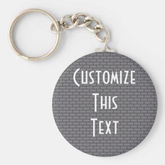 8-Bit Retro Brick, Grey Basic Round Button Keychain
