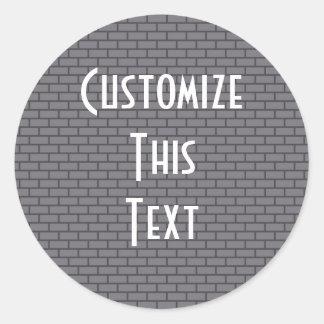 8-Bit Retro Brick, Grey Round Sticker
