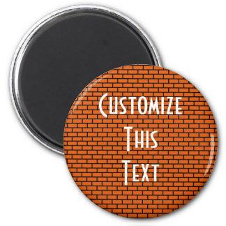 8-Bit Retro Brick, Orange 2 Inch Round Magnet