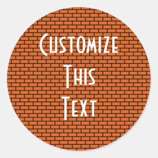8-Bit Retro Brick, Orange Round Sticker