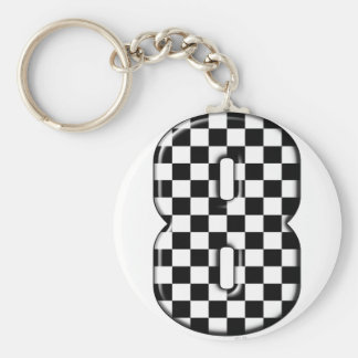 8 checkered auto racing number basic round button keychain