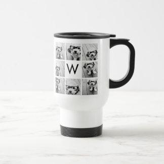 8 Photo Collage Custom Monogram Black and White 15 Oz Stainless Steel Travel Mug